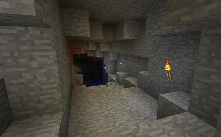 【スイッチ版マイクラ】洞窟見つけて探検したいけど、水が流れててなんか怖いんだが!?