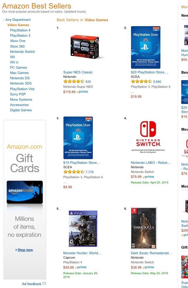 【スイッチ大勝利】米Amazonでスイッチ版ダークソウルが6位に!!!